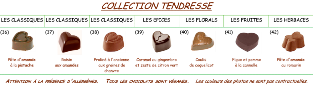 "Collection de chocolats TENDRESSE au ""lait"" dairy free Bio équitable"