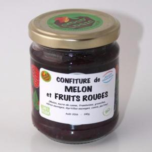 Confiture artisanale Bio de melon et fruits rouges
